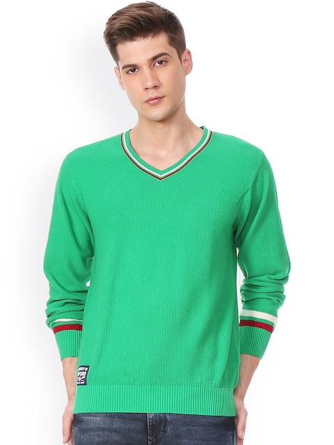 University of Oxford by People Men Green Solid Pullover