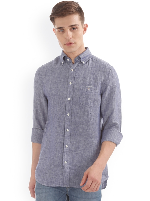 GANT Men Linen Blue Regular Fit Solid Casual Shirt