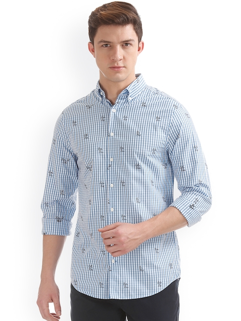 GANT Men Blue Classic Regular Fit Checked Casual Shirt