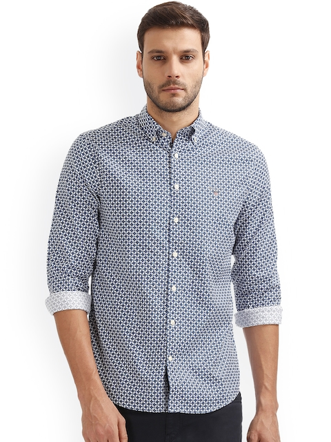 GANT Men Blue Regular Fit Printed Casual Shirt