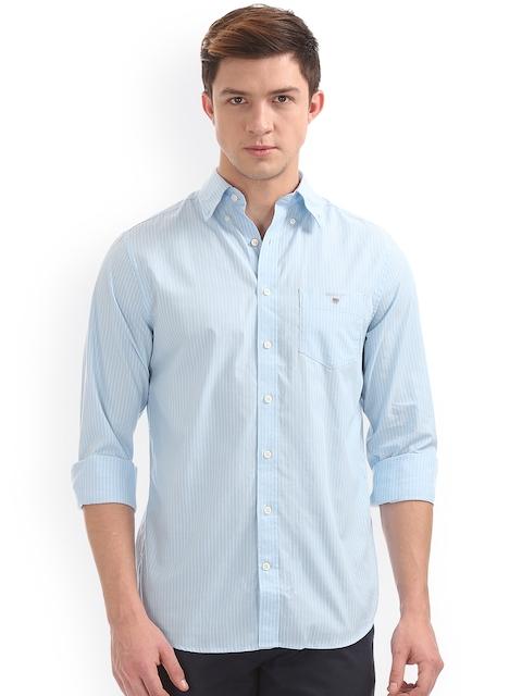GANT Men Blue Regular Fit Striped Casual Shirt