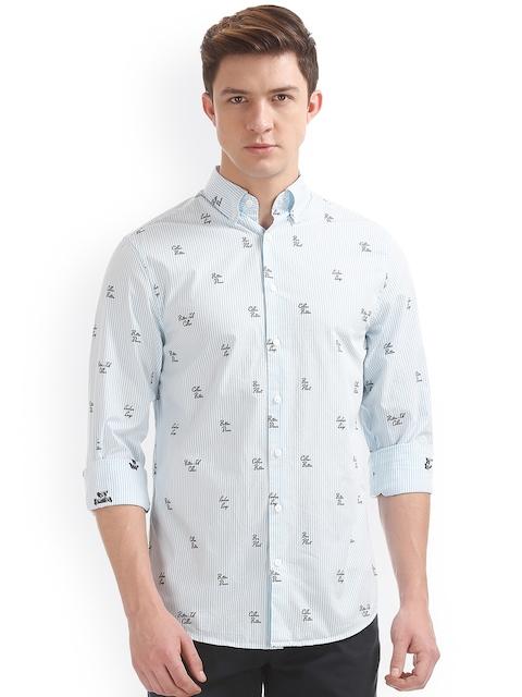 GANT Men Blue Classic Regular Fit Striped Casual Shirt