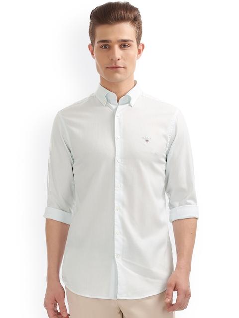 GANT Men Blue & Off-White Classic Regular Fit Striped Casual Shirt