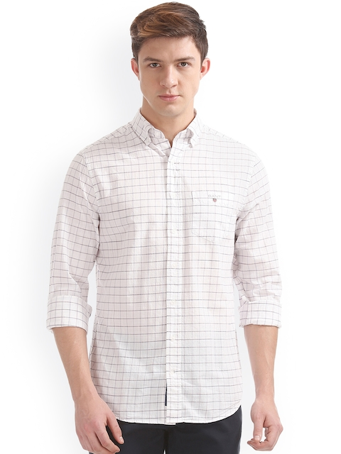 GANT Men White Classic Regular Fit Checked Casual Shirt