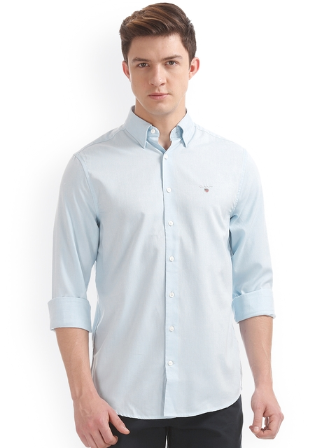 GANT Men Blue Regular Fit Solid Casual Shirt