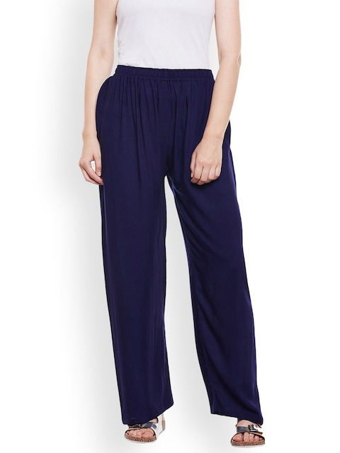 Castle Women Navy Blue Solid Straight Palazzos