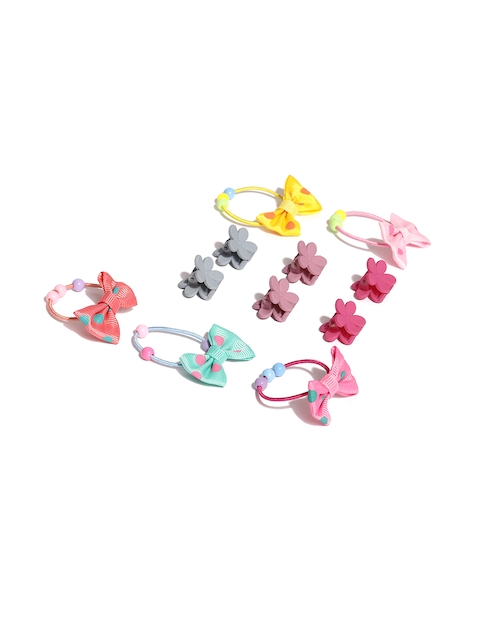 Toniq Kids Hair Accessories Set of 11 Pony Tail Holder & Hair Clip