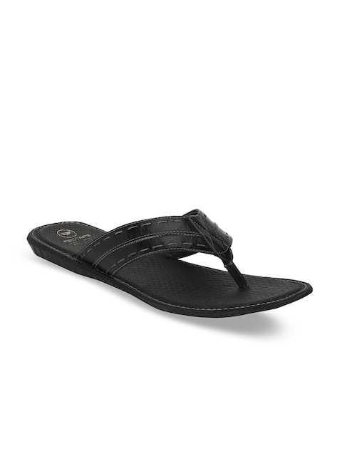 Red Tape Men Black Comfort Leather Sandals