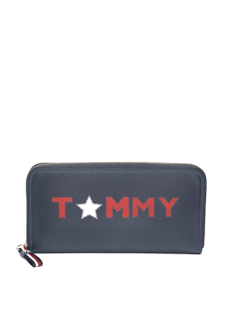Tommy Hilfiger Women Navy Blue Printed Zip Around Wallet