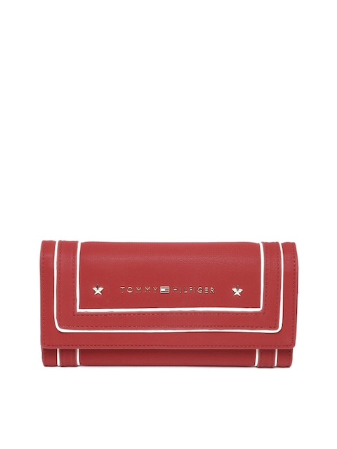 Tommy Hilfiger Women Red Leather Three Fold Wallet