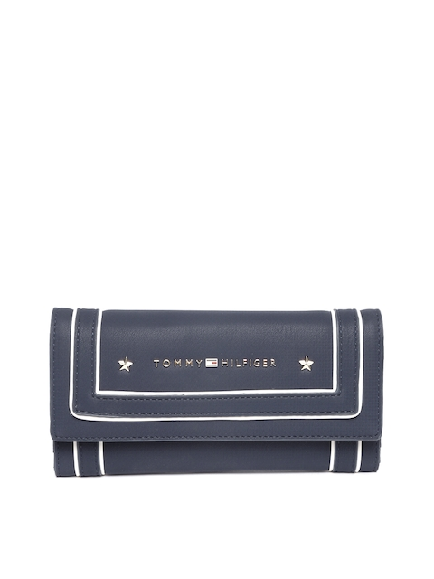 Tommy Hilfiger Women Navy Blue Solid Leather Three Fold Wallet
