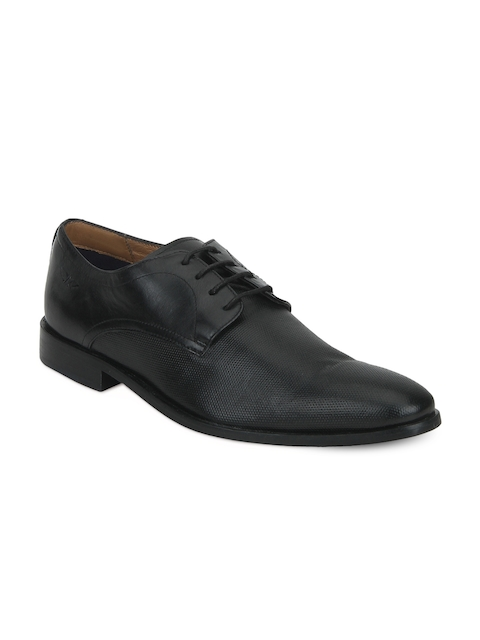 Park Avenue Men Black Leather Formal Derby Shoes