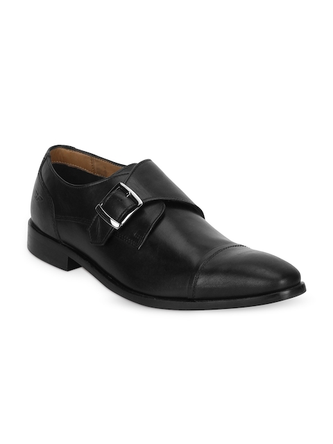 Park Avenue Men Black Leather Formal Monk Shoes