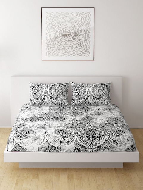 SPACES Black & White Ethnic Motifs Flat 210 TC Cotton 1 King Bedsheet with 2 Pillow Covers