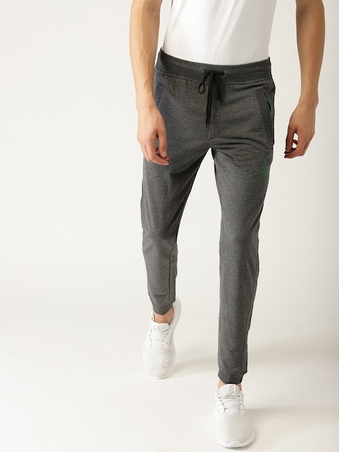 United Colors of Benetton Men Charcoal Grey Solid Joggers
