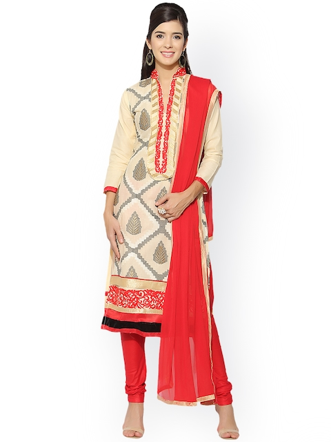 Blissta Cream-Coloured & Coral Cotton Blend Embroidered Unstitched Dress Material