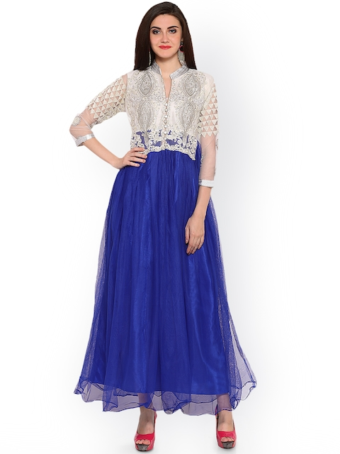 Blissta Blue & Cream-Coloured Net Semi-Stitched Gown Fabric