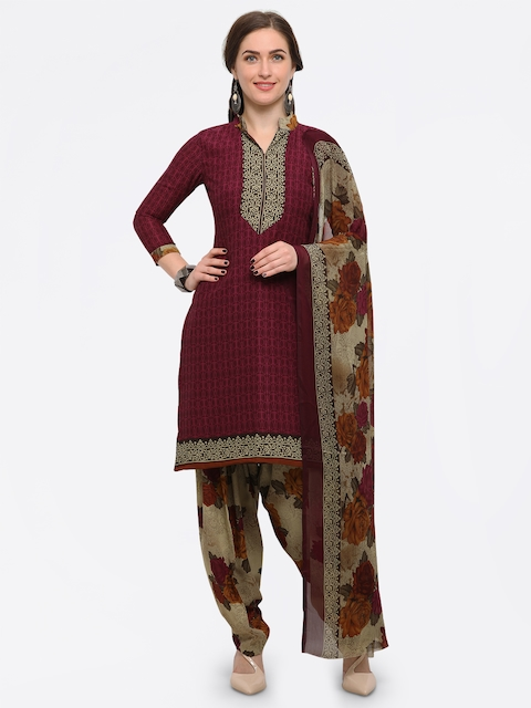 Rajnandini Maroon & Beige Poly Crepe Unstitched Dress Material