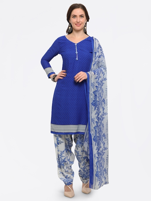 Rajnandini Blue Poly Crepe Unstitched Dress Material