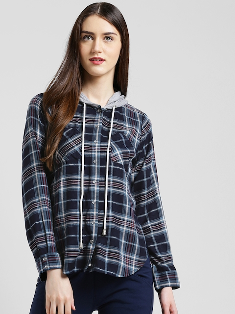 Texco Women Navy Blue & Grey Checked Jacket