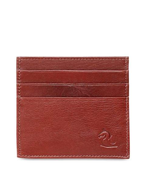 Kara Men Tan Solid Leather Card Holder