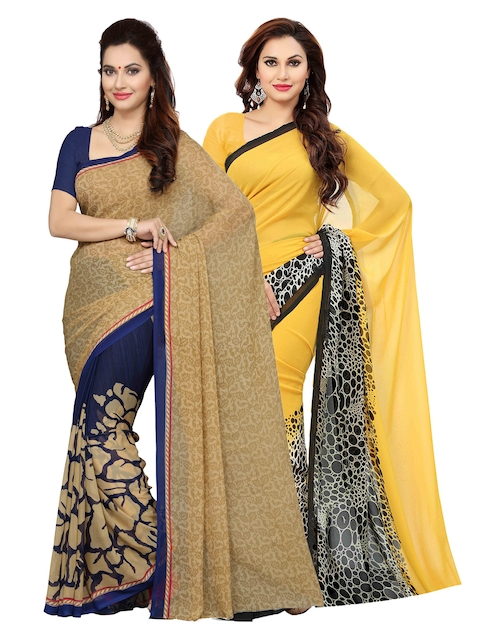 Ishin Selection of 2 Beige & Yellow Poly Georgette Printed Sarees