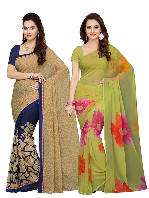 Ishin Selection of 2 Beige & Green Poly Georgette Printed Sarees