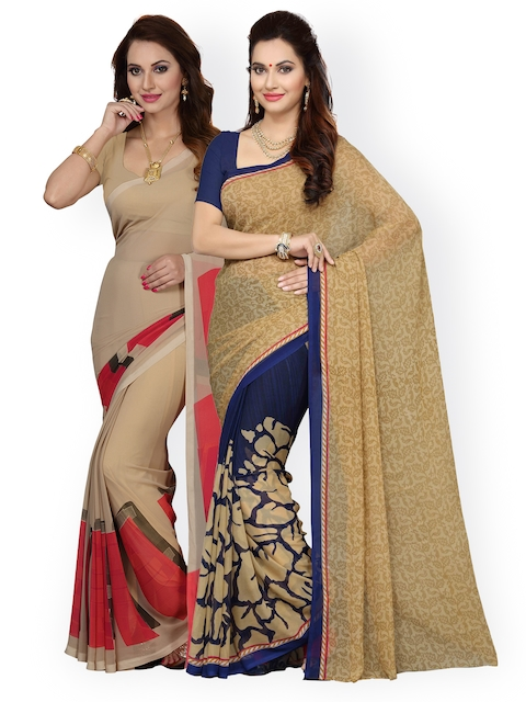 Ishin Selection of 2 Beige Printed Poly Georgette Sarees
