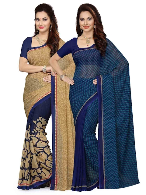 1d96beff48 67%off Ishin Selection of 2 Beige & Navy Blue Poly Georgette Printed Sarees