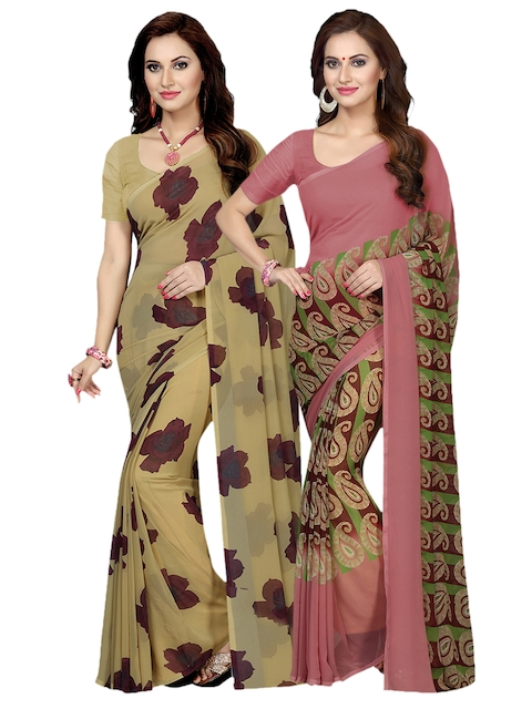 Ishin Selection of 2 Beige & Mauve Poly Georgette Printed Sarees