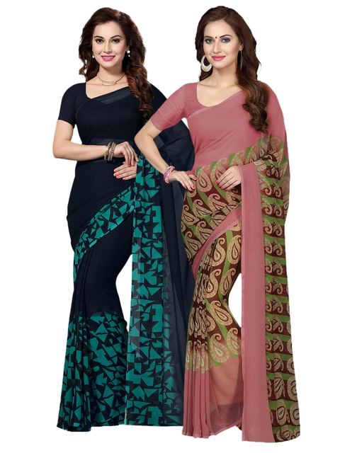 f05b23d2b71 61%off Ishin Selection of 2 Beige   Blue Poly Georgette Printed Sarees