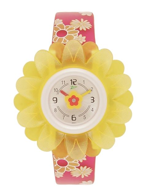 Zoop Kids Cream-Coloured & Yellow Analogue Watch NKC4005PP03