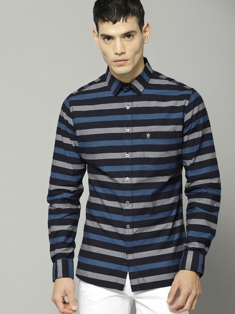 French Connection Men Black & Blue Slim Fit Striped Casual Shirt