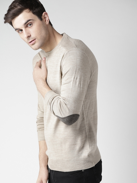 Mast & Harbour Men Beige Solid Pullover