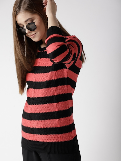 Mast & Harbour Women Black & Coral Red Striped Sweater