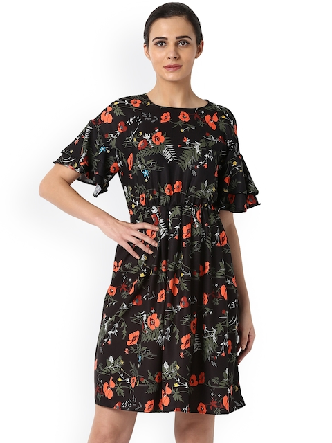 Van Heusen Woman Black Printed A-Line Dress