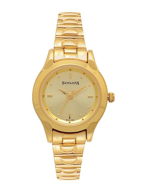 Sonata Women Gold-Toned Analogue Watch NK8098YM02
