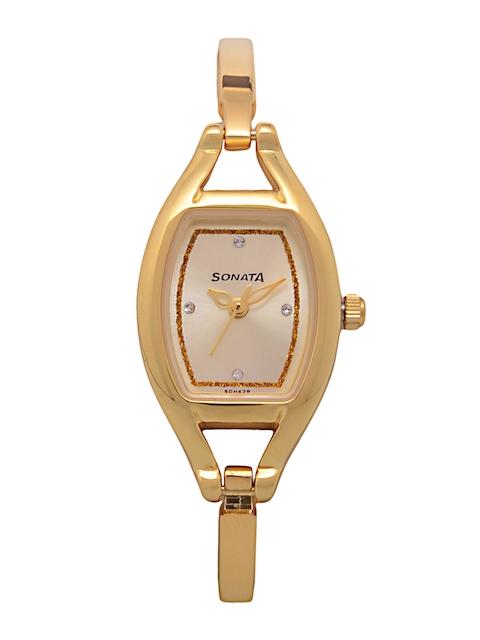 Sonata Women Gold-Toned Analogue Watch 8114YM07