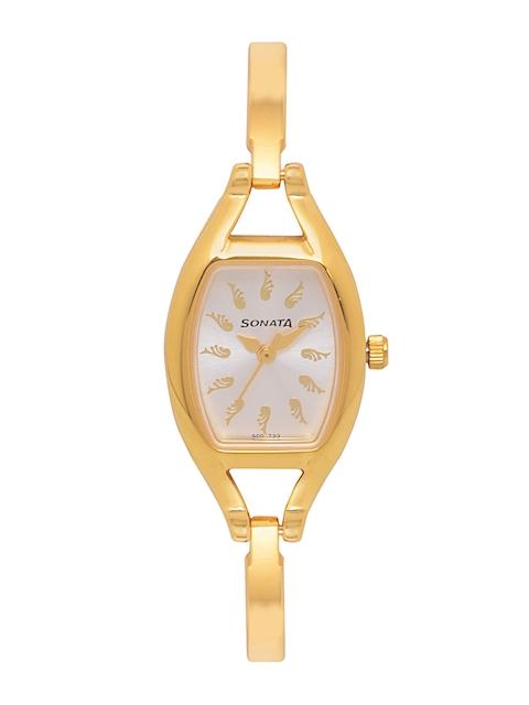 Sonata Women White & Gold-Toned Analogue Watch NK8114YM03