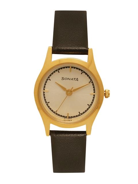 Sonata Women Gold-Toned Analogue Watch 87025YL02