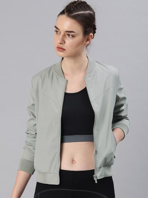 HRX by Hrithik Roshan Women Grey Solid Bomber Jacket