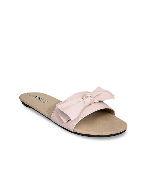 GNIST Women Pink Solid Synthetic Mules