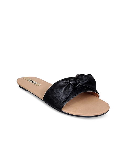 GNIST Women Black Solid Synthetic Mules