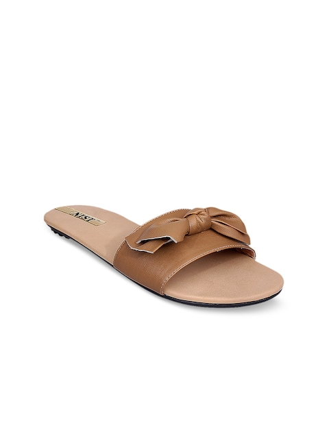 GNIST Women Tan Solid Synthetic Mules