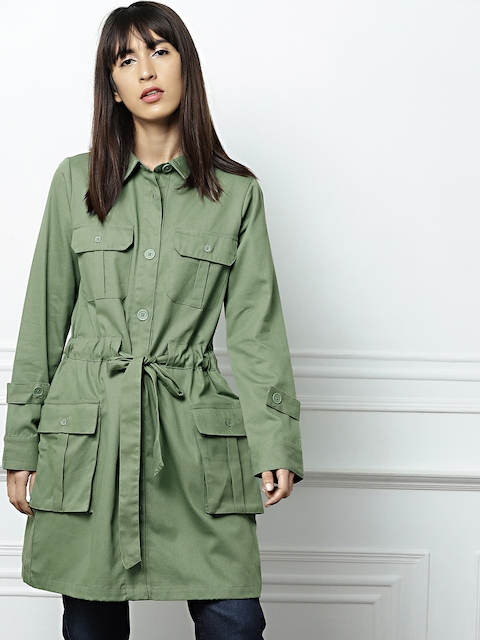 all about you from Deepika Padukone Green Solid Tie-Up Trenchcoat