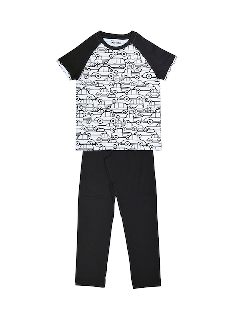 ventra Boys Off-White & Black Printed Night suit