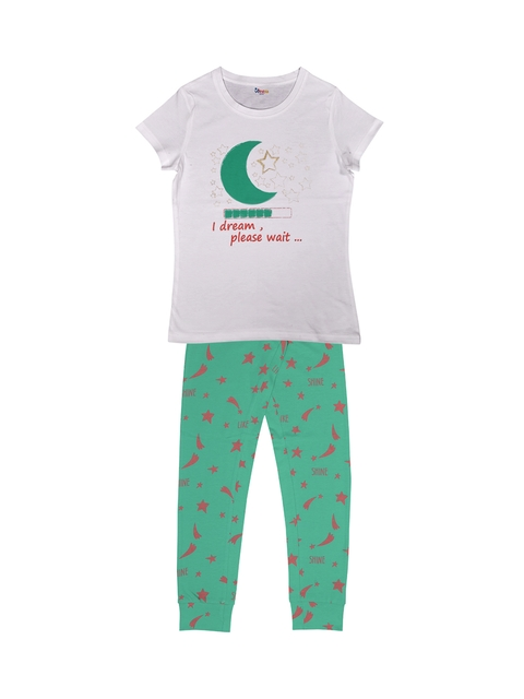 ventra Girls White & Green Printed Night suit