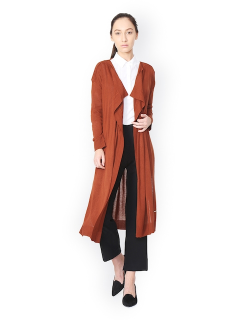 Van Heusen Woman Brown Solid Open Front Shrug