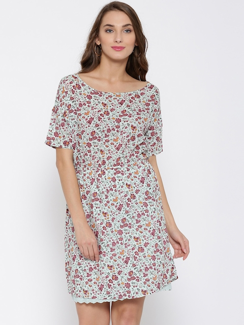 United Colors of Benetton Grey & Mineral Red Floral Print A-Line Dress  available at myntra for Rs.1499