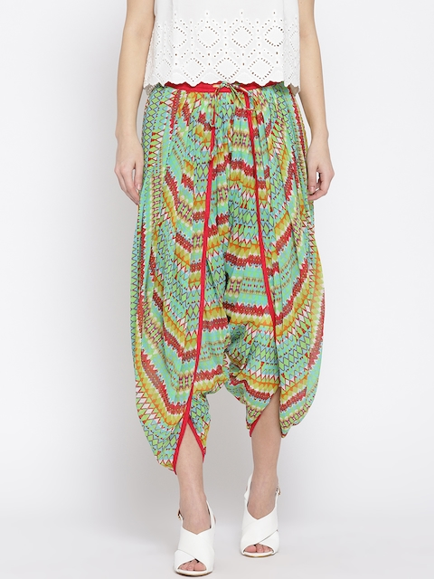 Ayaany Teal Blue & Maroon Printed Cropped Dhoti Pants